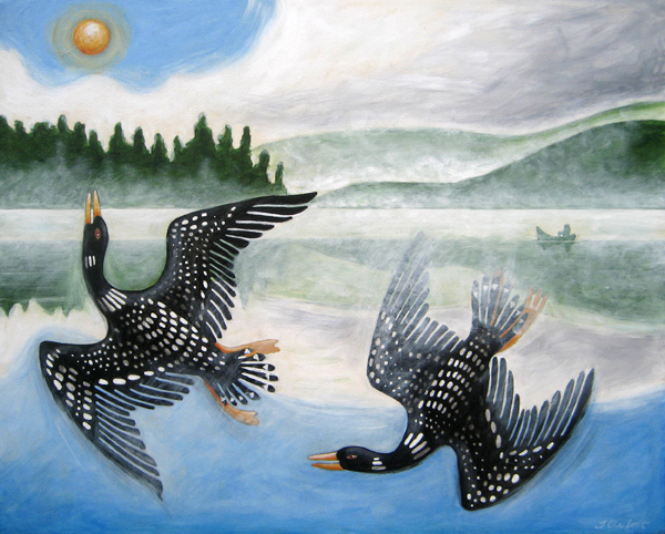 Painting of two loons on a lake