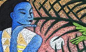 Blue Girl Regards the Bougainvillea